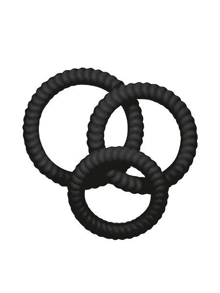 Lust-Trio: Penisringe-Set, schwarz