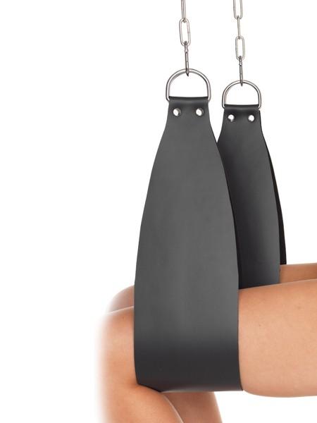 Leder-Bein-Hängefesseln mit D-Ringen, schwarz