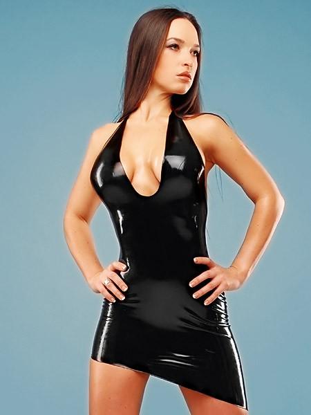 Latex-Minikleid: Lady Alexa, schwarz