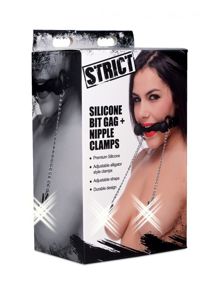 Strict Silicone Bit Gag + Nipple Clamps: Silikontrense mit Nippelklemmen