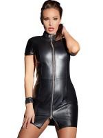 Leder-Minikleid, schwarz