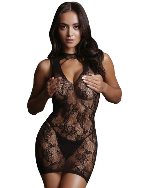 Le Désir High Neck Lace: Netz-Minikleid, schwarz
