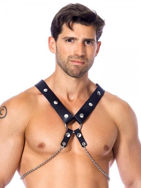 Leder-Harness mit Metallketten, schwarz/silber