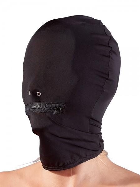 Kopfmaske mit Reißverschluß, schwarz