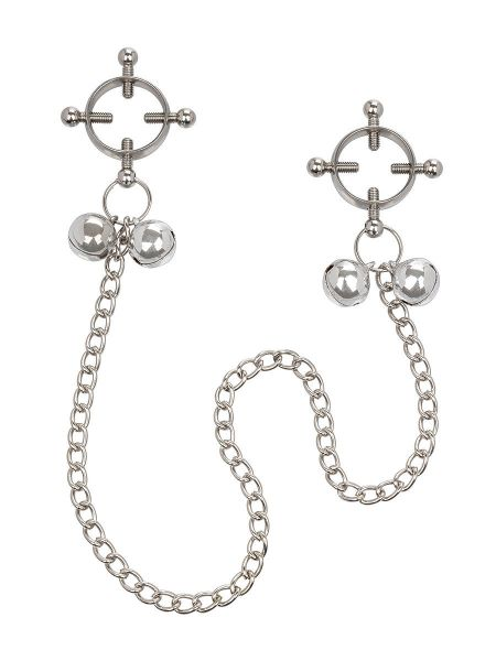 4-Point Nipple Press with Bells: Nippelklemmen, silber