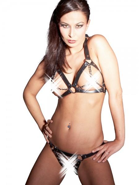 Leder-Ketten-Bikini, schwarz