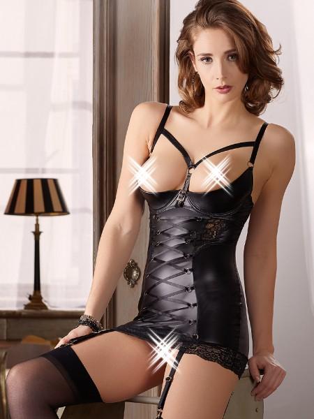 Ouvert-Strapskleid, schwarz