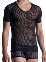 MANSTORE M2053: V-Neck-Shirt, schwarz/schwarz