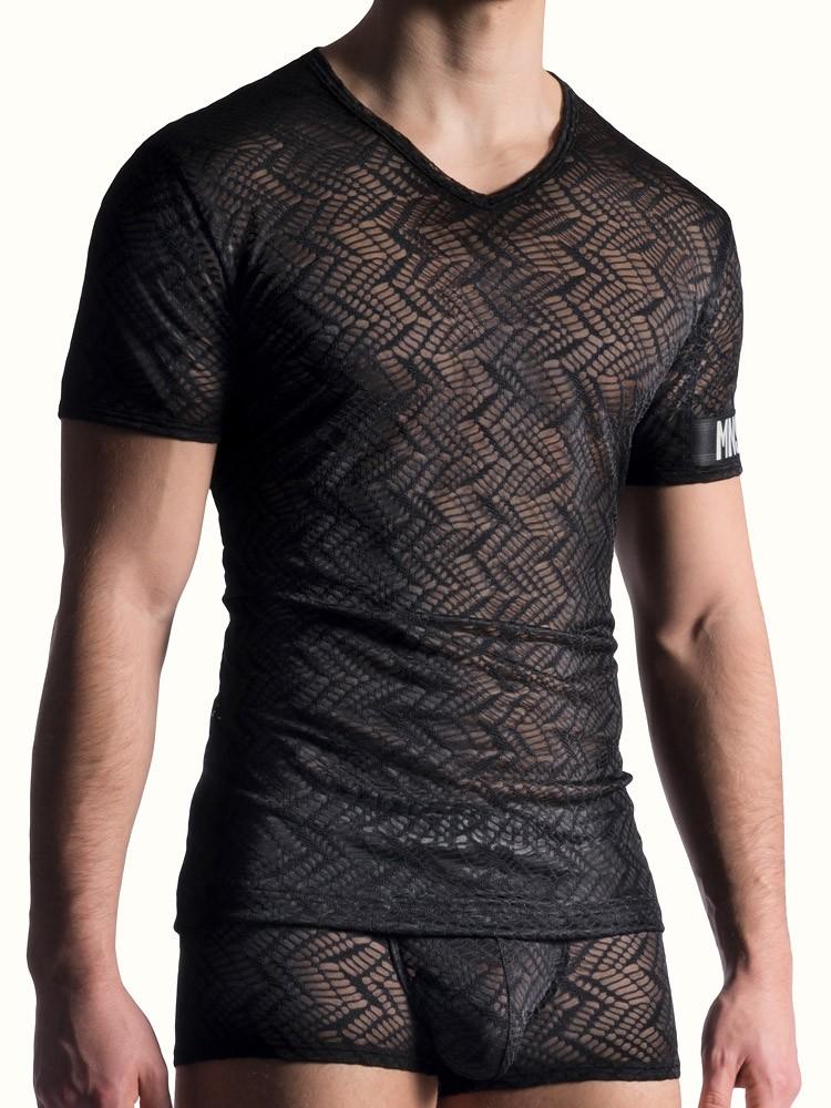 MANSTORE M818: V-Neck-Shirt, schwarz