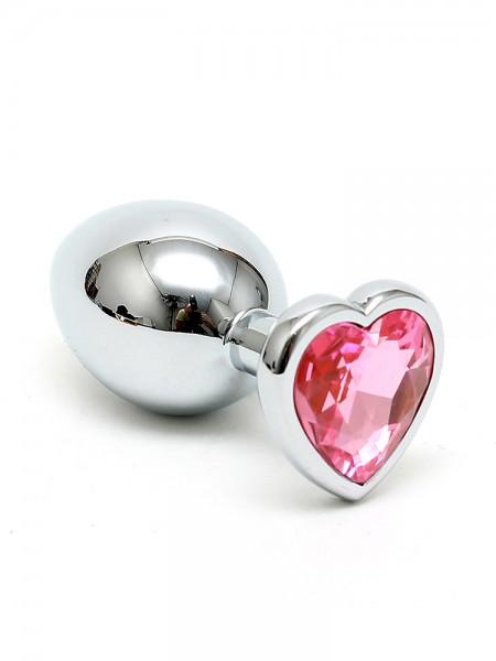 Edelstahl-Analplug mit Herzkristall, pink
