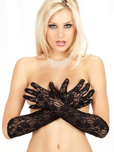 Spitzen-Handschuhe, schwarz