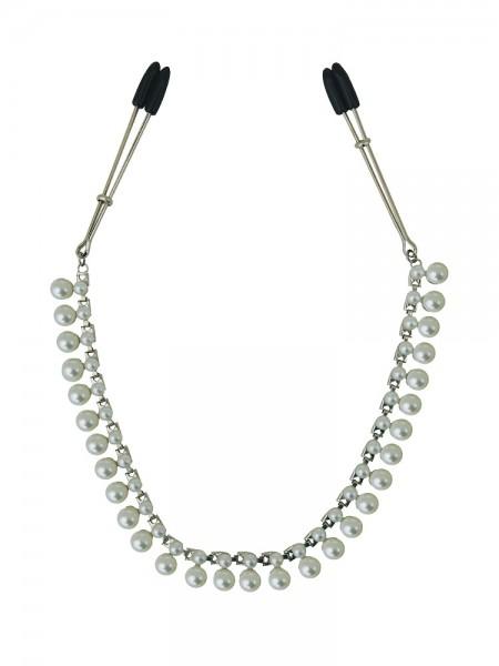 Midnight Pearl Chain Nipple Clips: Nippelklemmen, weiß