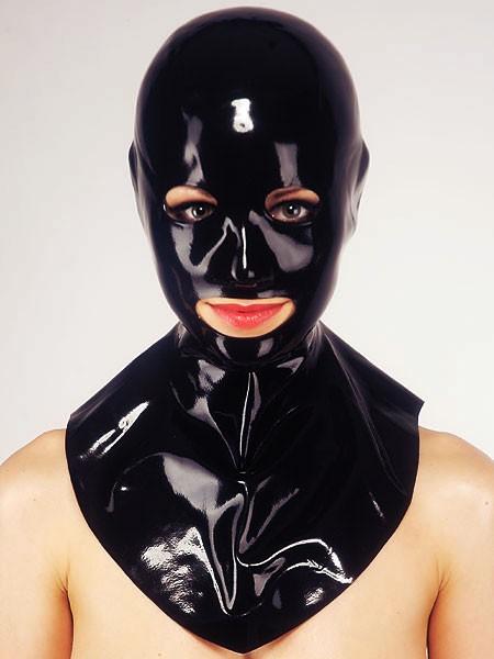 Latex-Kopfmaske mit Ã?ffnungen und Kragen, schwarz