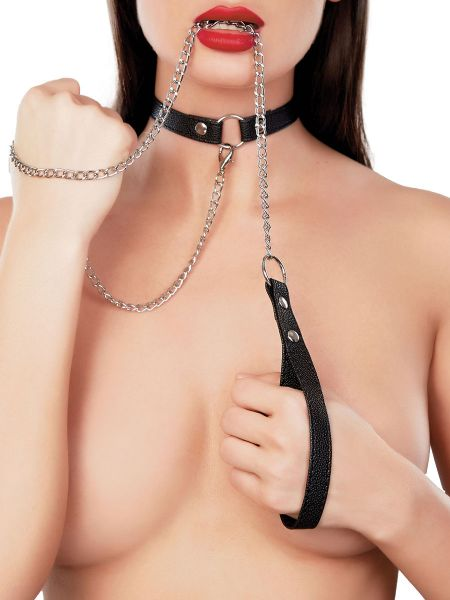 Adore Paramour Fantasy: Paramour Collar & Leash, schwarz