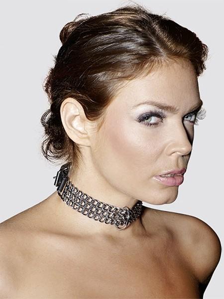 Leder-Halsfessel mit Metallketten