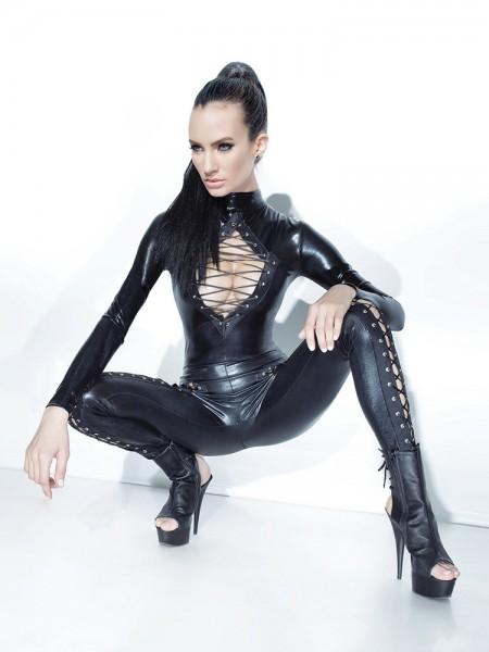 Coquette: Wetlook-Catsuit mit Schnürung, schwarz
