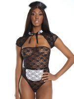 Coquette Elite Kostüm: French Maid-Body, schwarz/weiß
