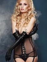 7-Heaven Wetlook-Handschuhe mit Zip und Schnürung, schwarz