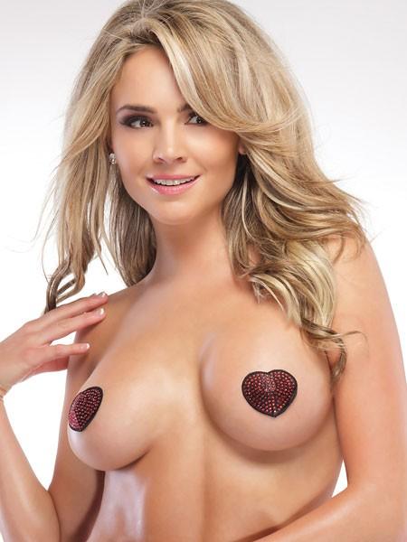 Coquette: Heart Pasties, rot/schwarz