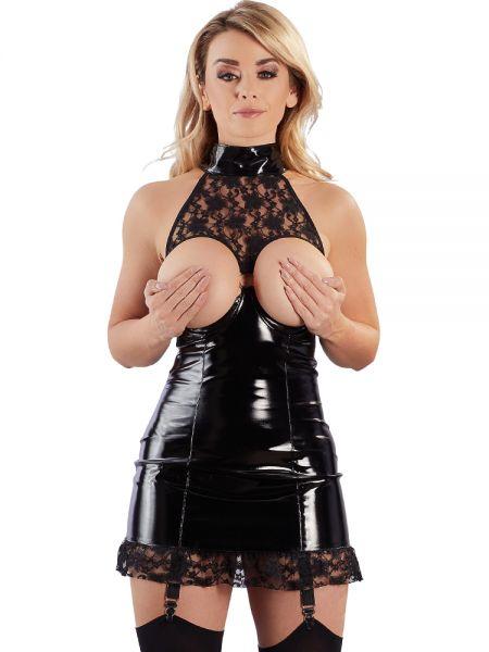 Lack-Ouvert-Strapskleid, schwarz