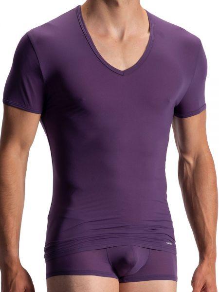 Olaf Benz RED0965: Phantom V-Neck-Shirt, aubergine