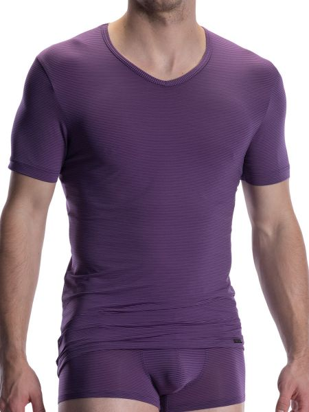 Olaf Benz RED2002: V-Neck-Shirt, aubergine