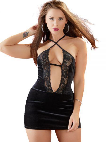 Samt-Minikleid, schwarz
