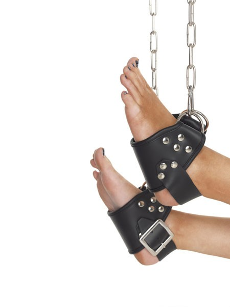 Leder-Fuß-Hängefesseln mit D-Ringen, schwarz