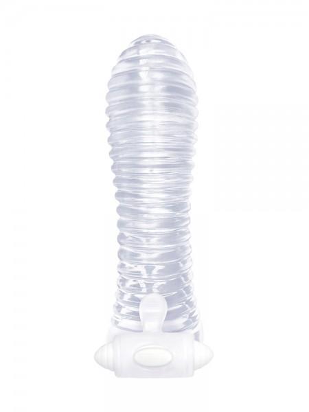 Vibrating Sextenders Ribbed: Vibro-Penishülle, transparent