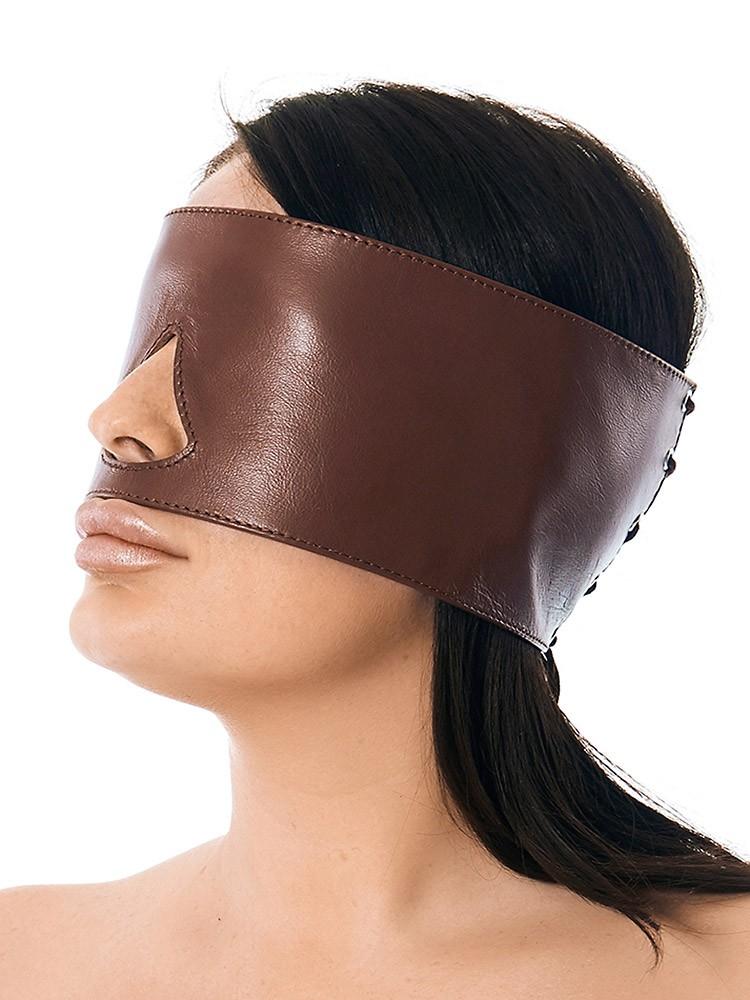 Rimba Leder-Augenmaske mit Schnürung, braun