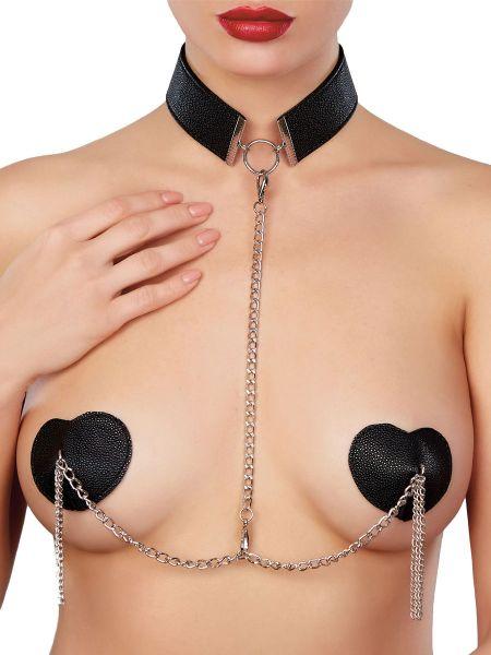 Adore Paramour Fantasy: Le Burlesque Collar & Pasties, schwarz