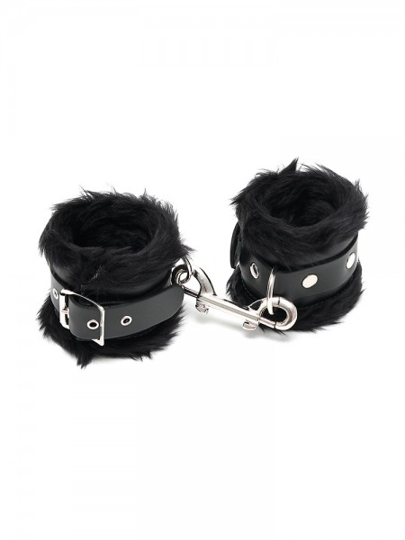Leder-Fußfesseln mit Plüsch, schwarz