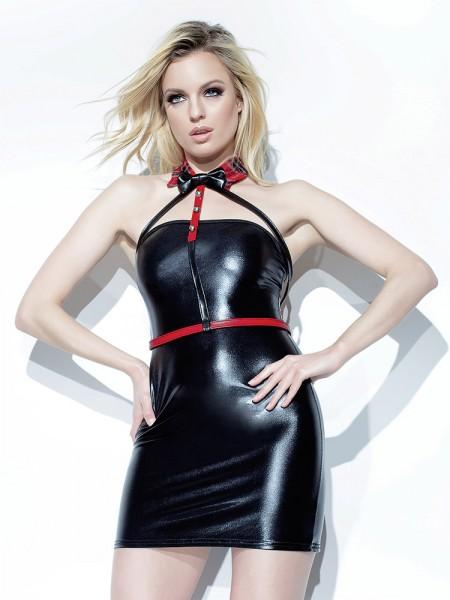 Coquette: Kunstleder-Harness mit Kragen, rot/schwarz