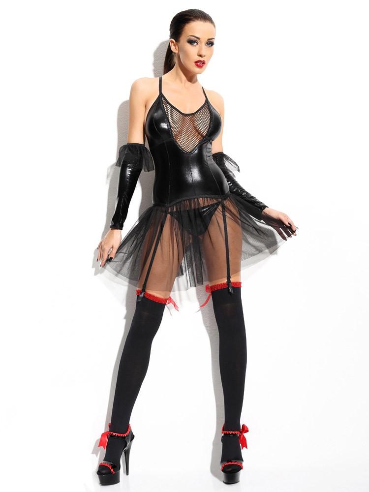 Demoniq Wetlook-Netz-Strapskleid-Set: Yvone, schwarz