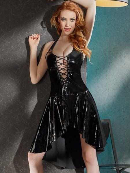 Lack-Kleid mit Schnürung, schwarz