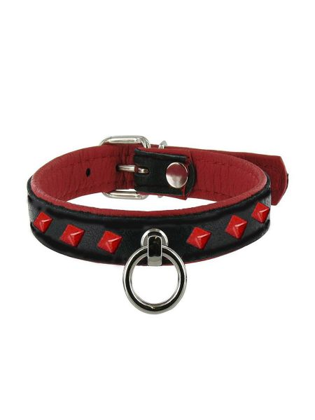 Black Label Leather Studded O-Ring Collar: Nietenhalsband, rot
