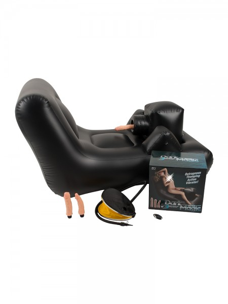 Dark Magic Thrusting Bed: Liebeskissen mit Vibrator, schwarz/haut