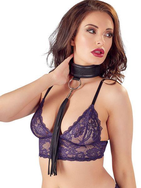 Bad Kitty Halsband mit Minipeitsche, schwarz