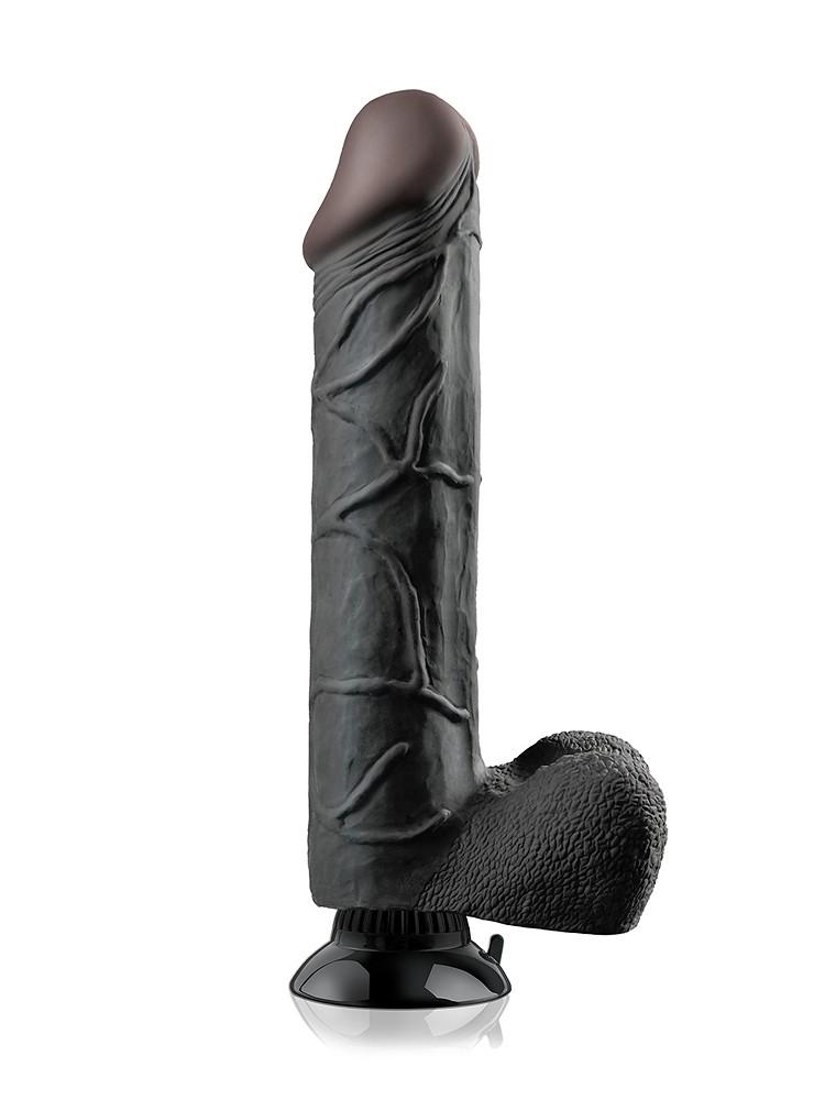 Real Feel Deluxe No. 12: Vibrator, schwarz (27cm)
