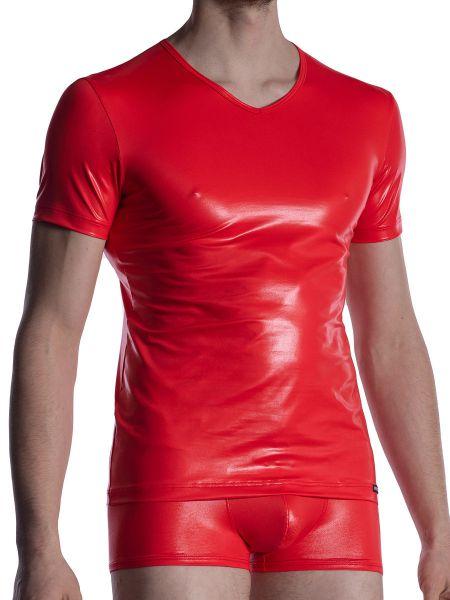 MANSTORE M2004: V-Neck-Shirt, rot