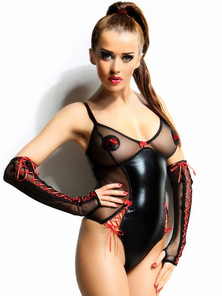 Demoniq Wetlook-Netz-Body: Hannah, schwarz