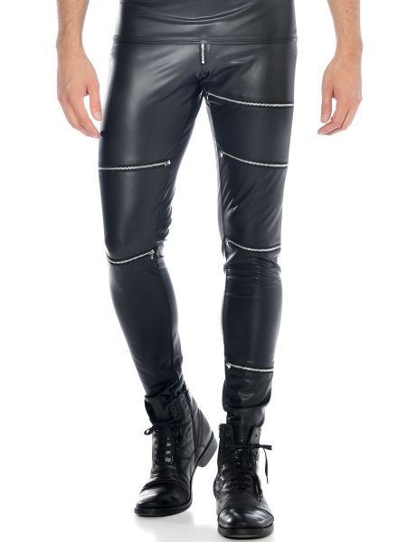 Patrice Catanzaro Jacob: Wetlook-Hose, schwarz