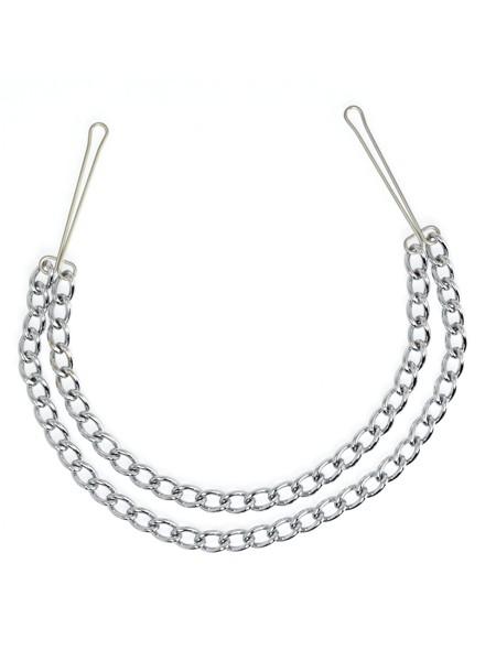 Metall-Nippelklemmen mit Doppelkette, silber