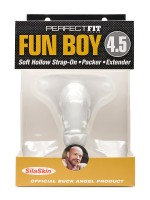 """Perfect Fit Fun Boy 4,5"""": Strap-On Packer hohl, transparent"""