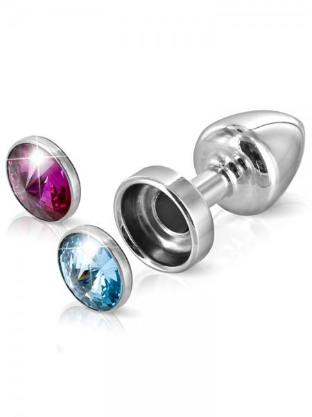 Diogol Magnet Buttplug: Aluminium mit austauschbaren Kristallen, silber (3 cm)