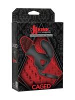 Kink Caged: Penismanschette mit Hodenring und Vibroei, schwarz