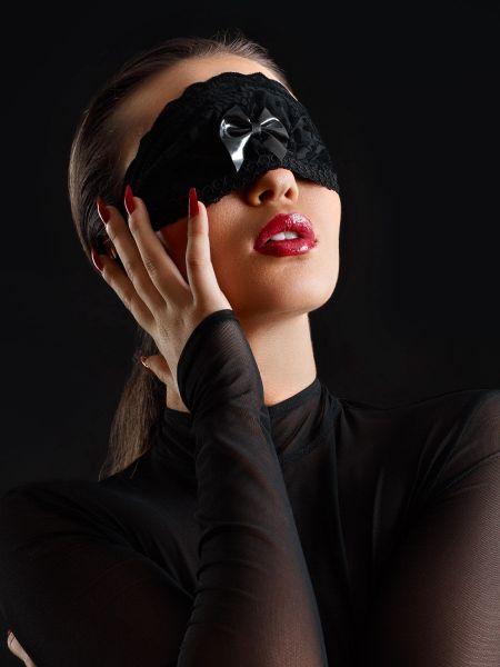 Patrice Catanzaro Lou: Lack-Spitze-Augenmaske, schwarz