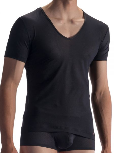 Olaf Benz RED1864: V-Neck-Shirt, schwarz
