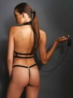 KINK: Wetlook Riemen-Body mit Führleine, schwarz
