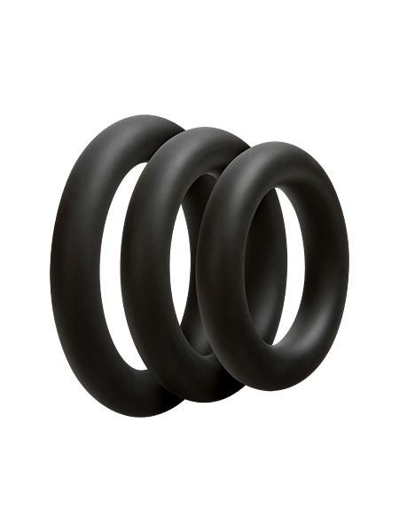 OptiMale 3 C-Ring Set Thick: Penisringe-Set, schwarz